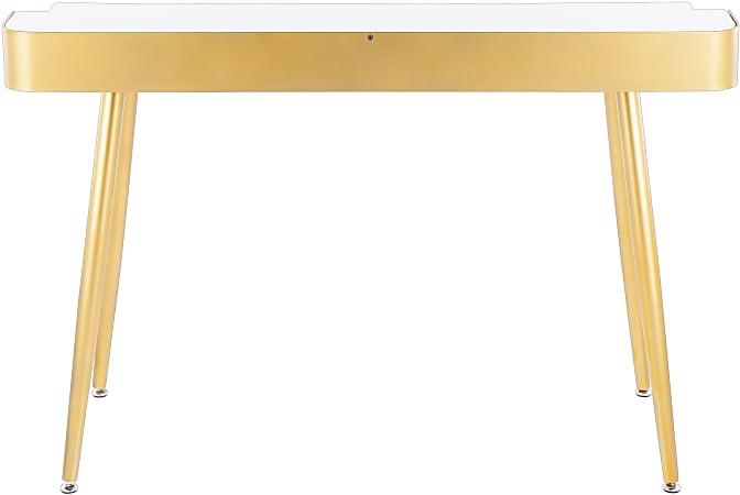 "LumiSource Harvey 48""W Desk, Gold/White"
