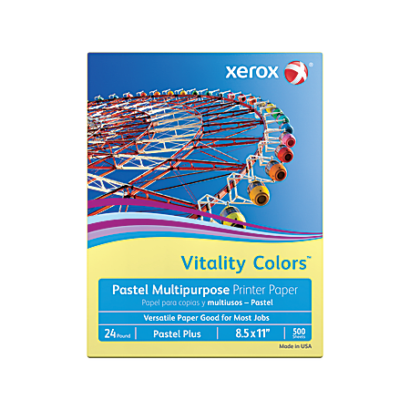 """Xerox® Vitality Colors™ Pastel Plus Multi-Use Printer Paper, Letter Size (8 1/2"""" x 11""""), 24 Lb, 30% Recycled, Yellow, Ream Of 500 Sheets"""