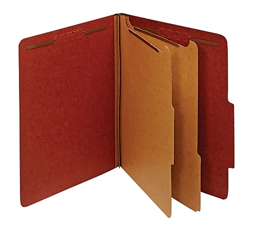 """Office Depot® Brand Pressboard Classification Folders With Fasteners, 2 Dividers, Letter Size (8-1/2"""" x 11""""), 2"""" Expansion, 100% Recycled, Red, Box Of 10"""