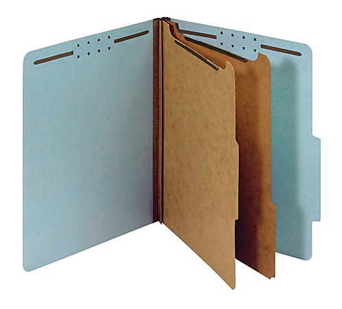 """Office Depot® Brand Pressboard Classification Folders With Fasteners, Letter Size (8-1/2"""" x 11""""), 2-1/2"""" Expansion, 100% Recycled, Blue, Box Of 10"""