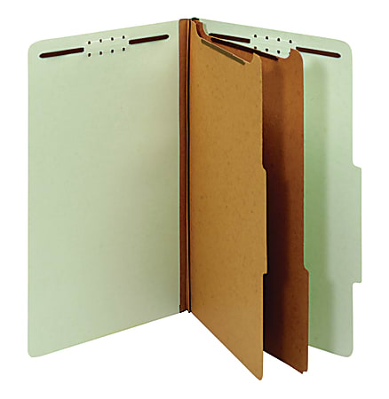"""Office Depot® Brand Pressboard Classification Folders With Fasteners, Legal Size (8-1/2"""" x 14""""), 2-1/2"""" Expansion, 100% Recycled, Light Green, Box Of 10"""
