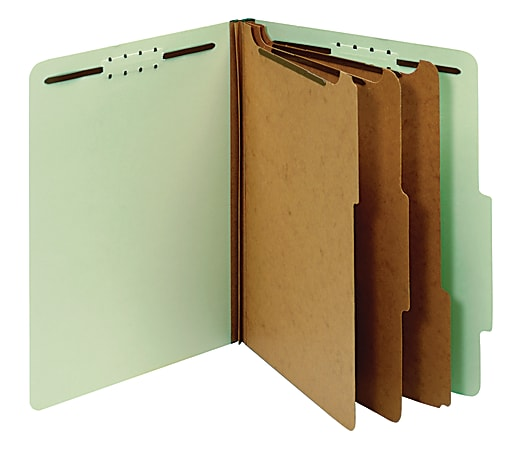 """Office Depot® Brand Pressboard Classification Folders With Fasteners, Letter Size (8-1/2"""" x 11""""), 3-1/2"""" Expansion, 100% Recycled, Light Green, Box Of 10"""