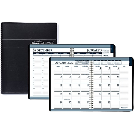 "House of Doolittle Tabbed Wirebound Weekly/Monthly Planner - Julian Dates - Weekly, Monthly, Daily - 1 Year - January 2021 till December 2021 - 8:00 AM to 8:30 PM - 1 Week, 1 Month Double Page Layout - 8 1/2"" x 11"" Sheet Size - Wire Bound - Black"