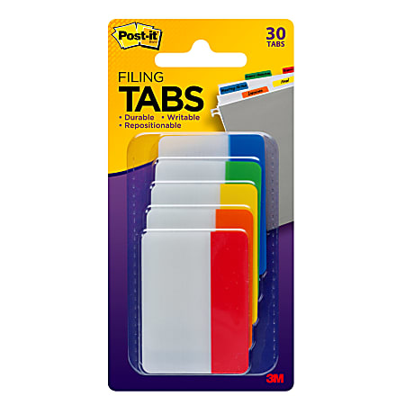 """Post-it® Durable Tabs, 2"""", Assorted Colors, 6 Tabs Per Pad, Pack Of 5 Pads"""