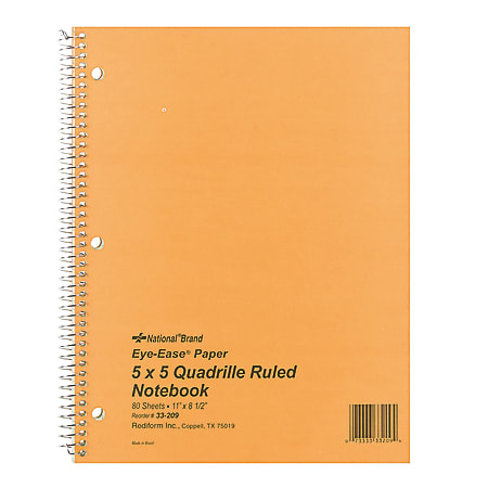 """Rediform® National Green Eye Ease Wirebound Notebook, 8 1/2"""" x 11"""", Quadrille Ruled, 80 Sheets, Green"""