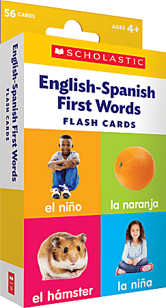 """Scholastic English-Spanish First Words Flash Cards, 6-5/16""""H x 3-7/16""""W, Pre-K, Pack Of 56 Cards"""