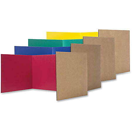 """Flipside Color Tri-fold Study Carrel - 48"""" Width x 12"""" Height - Corrugated - Red, Blue, Green, Yellow"""