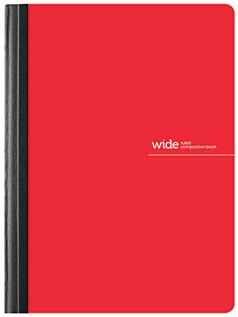 """Office Depot® Brand Poly Composition Book, 7 1/2"""" x 9 3/4"""", Wide Ruled, 80 Sheets, Red"""