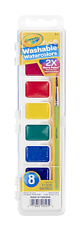 Crayola® Washable Watercolor Set With Brush, Assorted Colors