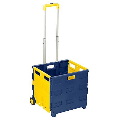 "Honey-can-do Folding Utility Cart - Telescopic Handle - 75 lb Capacity - 17"" Width x 8"" Depth x 17"" Height - Blue, Yellow"