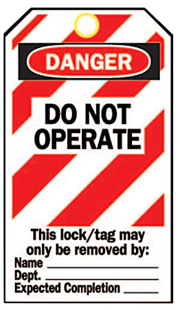 """Brady® Lockout Tags, Danger Do Not Operate, 5 3/4""""H x 3""""W, Red/White/Black, Pack Of 25"""
