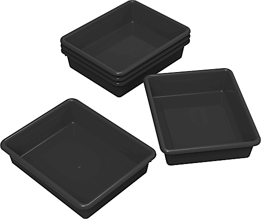 Storex® Flat Storage Trays, Small Size, Black, Pack Of 5