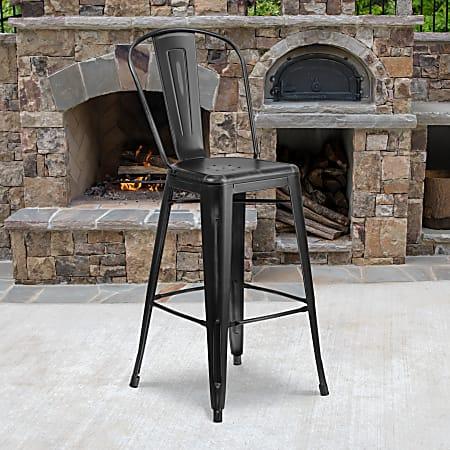 "Flash Furniture Commercial-Grade 30""H Distressed Metal Bar Stool, Black"