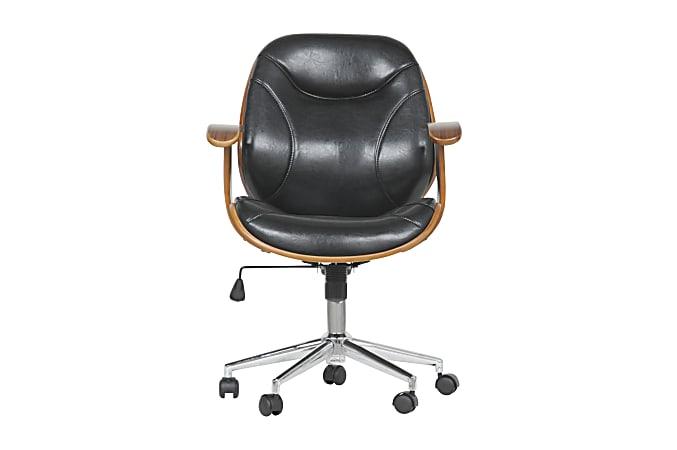 Baxton Studio Vincent Mid-Back Office Chair, Black/Walnut