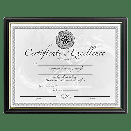 "DAX Black & Gold Certificate Frames - Holds 8.50"" x 11"" Insert - 18 / Pack - Plastic - Black"