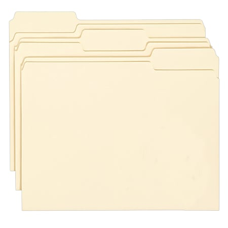 Smead® Manila Folders With Antimicrobial Protection, Letter Size, 1/3 Cut, Box Of 100