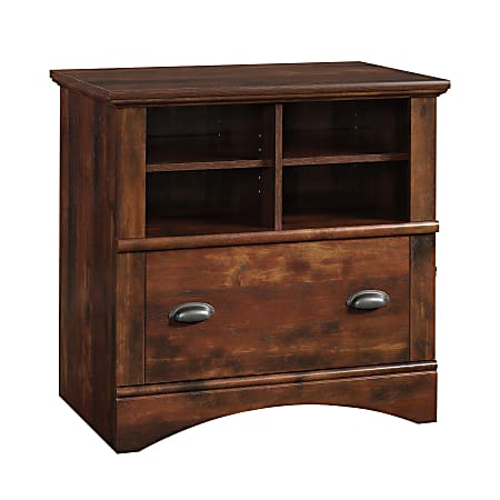 """Sauder® Harbor View 32""""W Lateral 1-Drawer File Cabinet, Curado Cherry"""