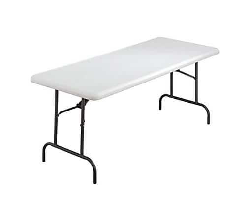 """Iceberg IndestrucTable TOO 1200 Series Folding Table - Rectangle Top - 72"""" Table Top Length x 30"""" Table Top Width x 1"""" Table Top Thickness - 29"""" Height - Platinum, Powder Coated - Polyethylene, Steel"""