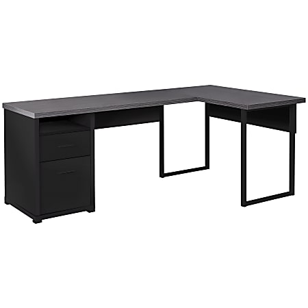 "Monarch Specialties Megan 79""W Computer Desk, Black/Gray"