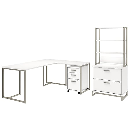 "kathy ireland® Office by Bush Business Furniture Method 72""W L Shaped Desk with 30""W Return, File Cabinets and Hutch, White, Standard Delivery"