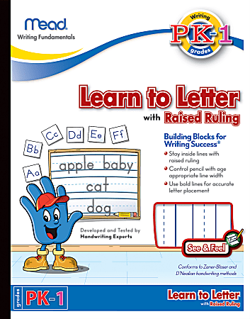 """Mead® Academie Jr.™ See 'n Feel Learn To Letter Writing Tablet, 10"""" x 8"""", 40 Sheets"""