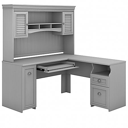 "Bush Furniture Fairview 60""W L-Shaped Desk With Hutch, Cape Cod Gray, Standard Delivery"