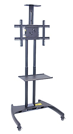"""H. Wilson FP2750 Series Flat-Panel Mobile TV Stand With Mount For TVs Up to 60"""", 62 1/2""""H x 32 3/4""""W x 28 3/4""""D, Black"""