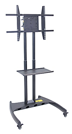 """H. Wilson FP3500 Series Flat-Panel Mobile TV Stand With Rotating Mount For TVs Up To 60"""", 62 1/2""""H x 32 3/4""""W x 28 3/4""""D, Black"""