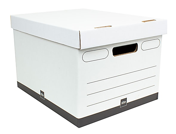 """Office Depot® Brand Heavy-Duty Quick Set Up Storage Boxes, Letter/Legal Size, 15"""" x 12"""" x 10"""", White/Black, Case Of 5"""