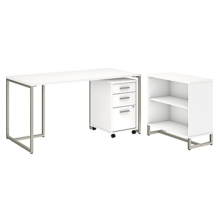 """kathy ireland® Office by Bush Business Furniture Method 60""""W Table Desk with Bookcase and Mobile File Cabinet, White, Standard Delivery"""