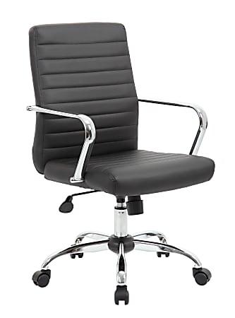 Boss Office Products Retro Caressoft Vinyl Mid-Back Task Chair, Black/Chrome