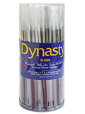 Dynasty White Paint Brushes B-800, Assorted Sizes, Round Bristle, Synthetic, Brown, Pack Of 120