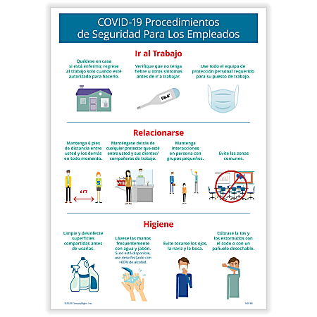"""ComplyRight™ Corona Virus And Health Safety Poster, COVID-19 Employee Safety Procedures, Spanish, 10"""" x 14"""""""