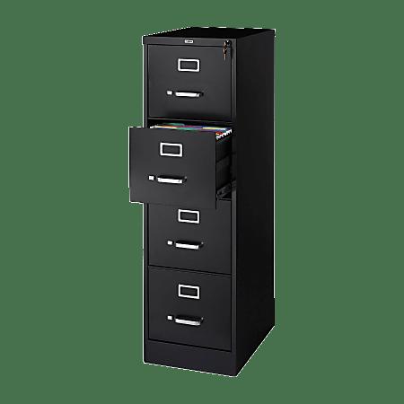 "Lorell® Fortress 22""D Vertical 4-Drawer Letter-Size File Cabinet, Metal, Black"