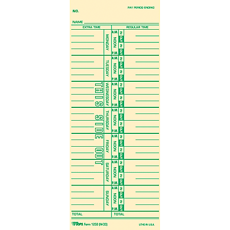 """TOPS Named Days Time Cards - 3 1/2"""" x 9"""" Sheet Size - Manila Sheet(s) - Green Print Color - 100 / Pack"""
