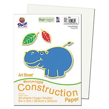 """SunWorks® Construction Paper, 9"""" x 12"""", White, Pack Of 50"""