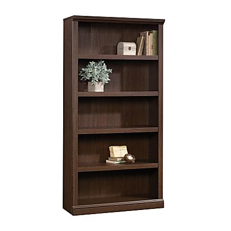 "Realspace® Premium Bookcases 70 1/16"" 5 Shelf Transitional Bookcase, Brown/Dark Finish, Standard Delivery"