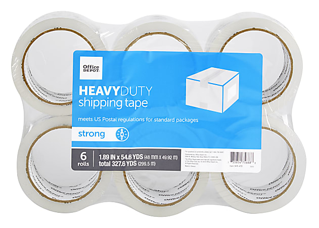"""Office Depot® Brand Heavy-Duty Shipping Tape, 1-9/10"""" x 54.6 Yd., Clear, Pack Of 6 Rolls"""