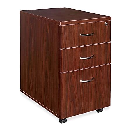 "Lorell® Essentials 22""D Vertical 3-Drawer Mobile Pedestal File Cabinet, Metal, Mahogany"
