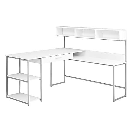 Monarch Specialties Corner Workstation Computer Desk, White/Silver
