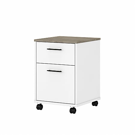 """Bush Furniture Key West 16""""D Vertical 2-Drawer Mobile File Cabinet, Shiplap Gray/Pure White, Standard Delivery"""