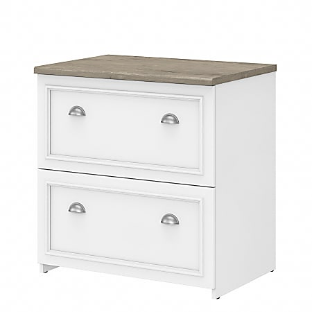 Bush Furniture Fairview 2-Drawer Lateral File Cabinet, Shiplap Gray/Pure White, Standard Delivery