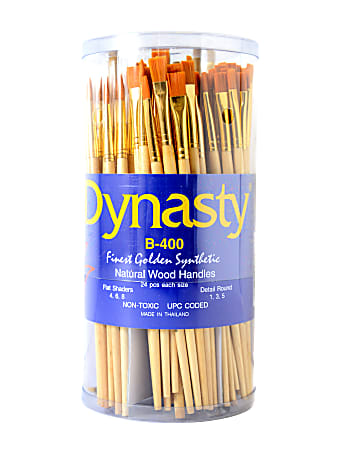 Dynasty Camel Hair Paint Brushes B-100, Assorted Sizes, Natural Bristle, Camel Hair, Multicolor, Pack Of 144