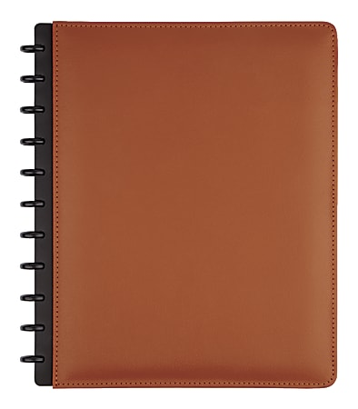 TUL® Discbound Notebook, Letter Size, Leather Cover, Narrow Ruled, 120 Pages (60 Sheets), Brown