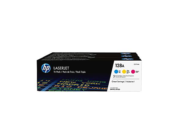 HP 128A Cyan/Magenta/Yellow Original Toner Cartridges (CF371AM), Pack Of 3