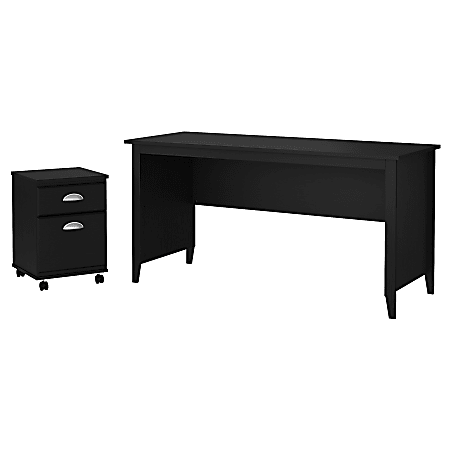 """kathy ireland® Home by Bush Furniture Connecticut 60""""W Writing Desk with 2 Drawer Mobile File Cabinet, Black Suede Oak, Standard Delivery"""