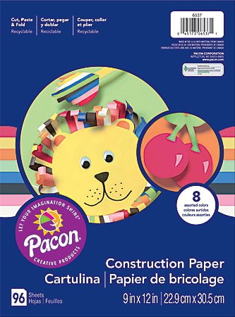 """Art Street® Construction Paper, 9"""" x 12"""", Assorted Colors, Pack Of 96 Sheets"""