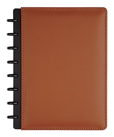 TUL® Discbound Notebook, Junior Size, Leather Cover, Narrow Ruled, 120 Pages (60 Sheets), Brown