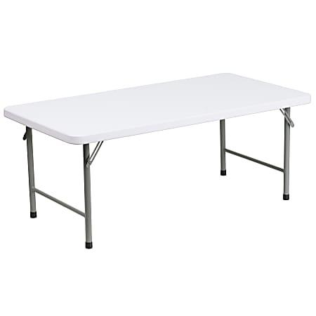 "Flash Furniture Kid's Plastic Folding Table, 19""H x 23-7/8""W x 47-3/4""D, Granite White"