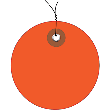 """Office Depot® Brand Prewired Plastic Circle Tags, 2"""", Orange, Pack Of 100"""